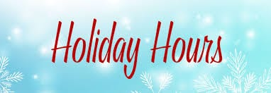 Tavern Holiday Hours